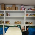 Pantry shelves before donations