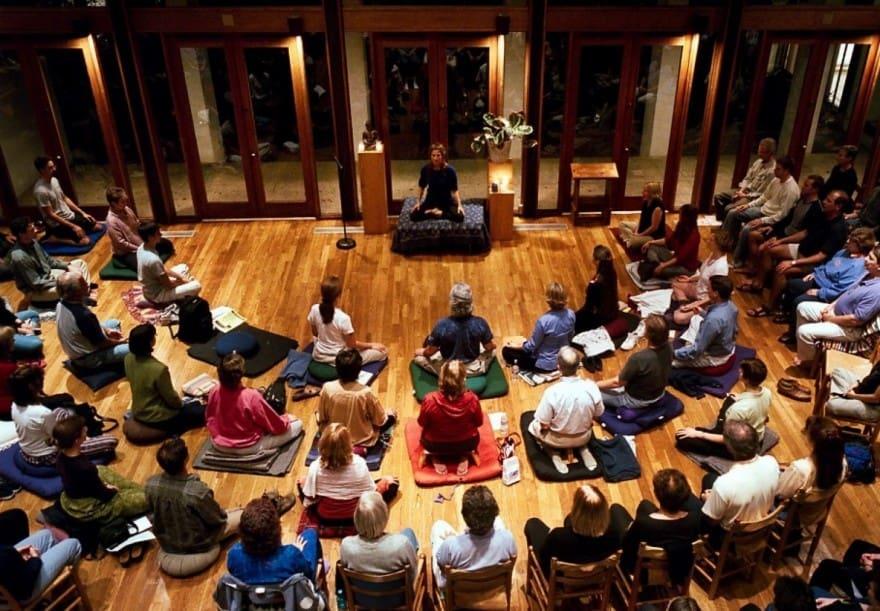 Buddhist and meditation teacher Tara Brach leads a Vipassana  meditation group at the River Road Unitarian Church in Bethesda.  (Andrea Bruce Woodall/The Washington Post)